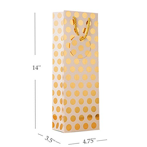 UNIQOOO 12Pcs Premium Quality Metallic Foil Gold,Silver,Red,Purple Polka Dot Wine Gift Bag Bulk, Single Wine Tote 14''x4.75''x3.5'' w/Gift Massage Tag,100% Recyclable Paper,Wine Liquor Carrier Bags Cover by NAVADEAL (Image #2)