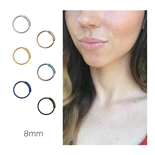 Nose Rings Hoop Titanium Nose Ring Body Piercing Round Set Jewelry for Women 8mm 6PCS