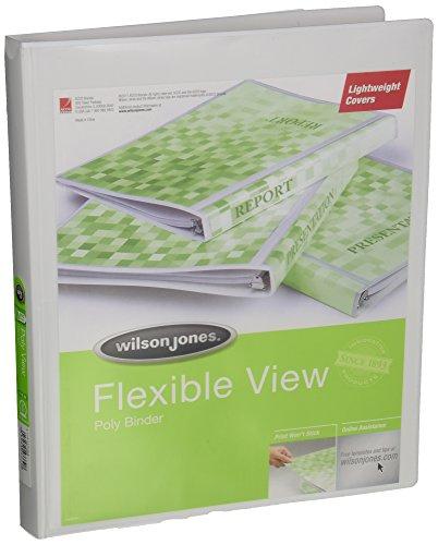 Wilson Jones Print Won't Stick Flexible Poly Round Ring View Binder, 60 Sheet, Letter Size, Customizable, White (A7043330DA)