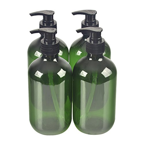Green Empty Plastic Pump Bottle Bottles.Refillable Bottle for Cooking Sauces,Essential Oils,Lotions,Liquid Soaps or Organic Beauty Products(4 Chalkboard Labels as gift) ()