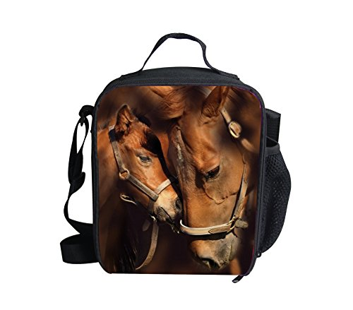 HUGS IDEA Horses Printed Kids Insulted Lunch Bags Tote Thermal Travel Picnic Lunchbox with Handle Pockets