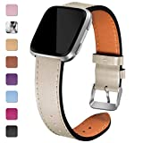 Maledan Leather Bands Compatible with Fitbit Versa Women Men, Replacement Strap Accessories Band Compatible with Fitbit Versa Smart Watch/Versa Lite/Versa SE, Small, Beige