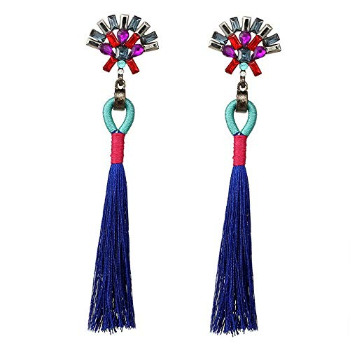 - Wausa Charm Bride Earring Boho Rhinestone Color Tassel Drop Long Ear Stud Earrings New | Model ERRNGS - 6734 |