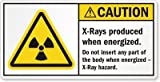 X-Rays produced when energized. Do not insert any part of the body when energized- X-Ray hazard., Vinyl Labels, 5.5