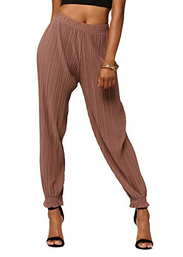 Conceited Women's High Waisted Wide Leg Pleated Harem Pants with Cuff Detail- Cuffed Mocha - One Size - 903-Mocha-Reg ()