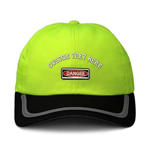Custom Reflective Running Hat Danger Sign Embroidery Polyester Soft Neon Hunting Baseball Cap One Size Neon Yellow/Black Personalized Text Here