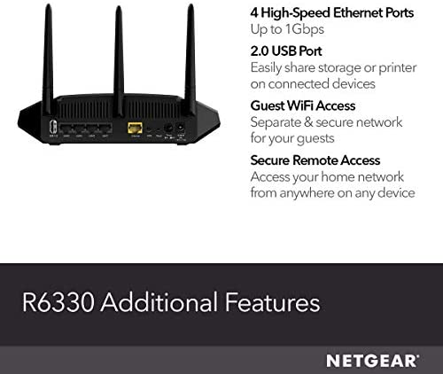 NETGEAR WiFi Router (R6330) - AC1600 Dual Band Wireless Speed (as much as 1600 Mbps) | Up to 1200 sq toes Coverage & 20 Devices | 4 x 1G Ethernet and 1 x 2.0 USB Ports (R6330-1AZNAS)
