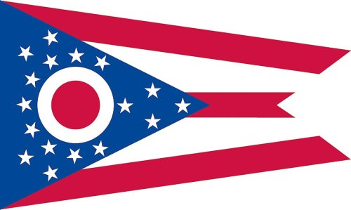 Valley Forge, Ohio State Flag, Nylon, 3'x5', 100% Made in America, Canvas Header, Heavy-Duty Brass Grommets