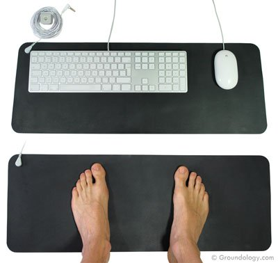 Healthy Hippie Rx Earthing/Grounding Computer Keyboard Mouse mat Kit for EMF Protection and a Static Free Work Area. Kit Includes, Mat,Grounding Cord, and Outlet Checker (Earthing Kit Mat Computer)
