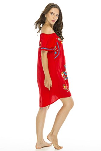 b063e5ac310 Back From Bali Womens Short Dress Off Shoulder Embroidery Tunic ...