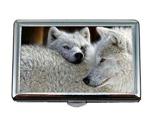 Flying Pig Men Cigarette Storage Case/Box,White Wolf Predator Wolf Business Card Holder Business Card Case (Stainless Steel)