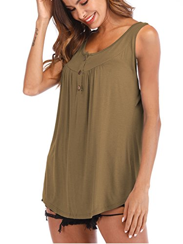 - Famulily Women's Summer Sleeveless Solid Casual Swing Flowy Tank Tops with Buttons Khaki 2XL