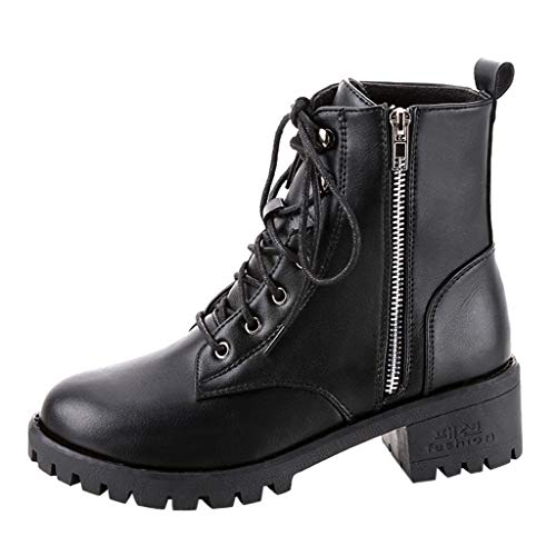 Women's Vintage Black Leather Cowboy Boots Ladies Chunky Block Short Ankle Motorcycle Shoes Waterproof Chelsea Boots (Black, US:6)