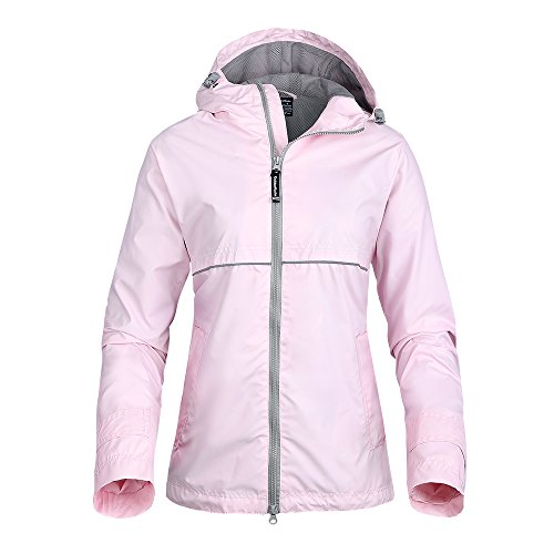 OutdoorMaster Womens' Rain Jacket - with Waterproof Hood & Reflective Stripes (Light Pink,XXL)