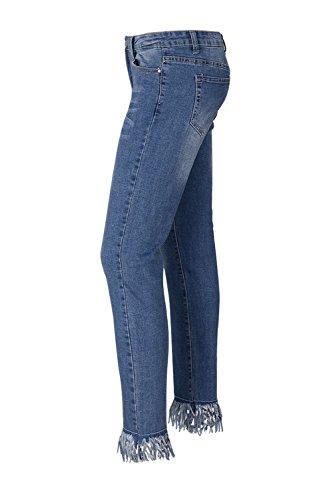 Blanc Jean Streetstyle Blue Skinny Femmes Pompons Les Pantalon En À qxTCItBR