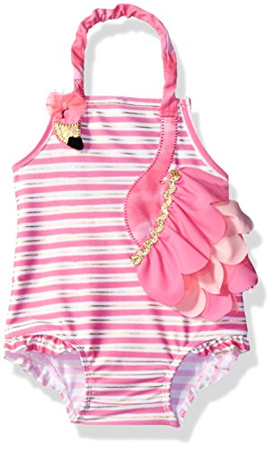 Mud Pie Baby Girls' Swimsuit One Piece, Flamingo, 12-18 Months