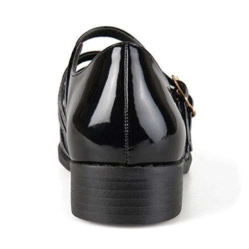 Journee Collection Chaussures À Boucle Vernie Pour Femme Noir