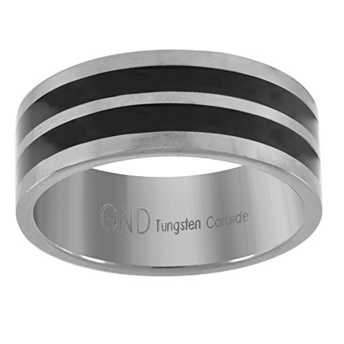 Double Line Tungsten Black (Saris and Things Tungsten Flat Silver-Tone Comfort-fit 8mm Size-9 Wedding Band Double Black Lines)