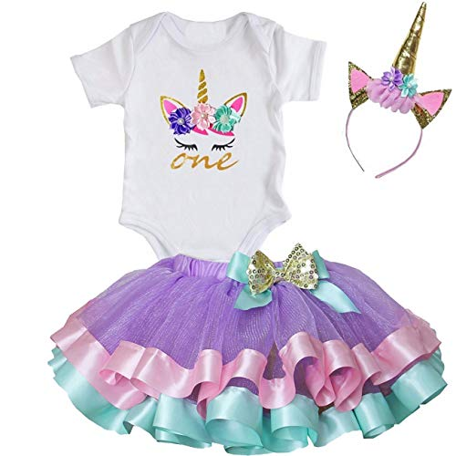 (Kirei Sui Girls Lavender Trimmed Tutu Unicorn One Short Sleeve Bodysuit M)