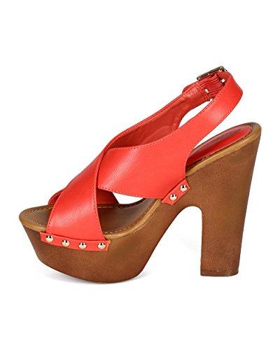 Breckelles Cc16 Donna Similpelle Open Toe Criss Cross Slingback Piattaforma Grosso Tacco Sandalo Pompelmo