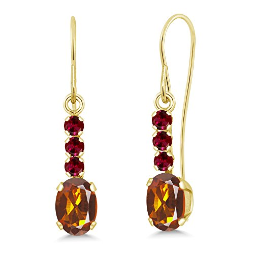 - 1.10 Ct Orange Red Madeira Citrine Red Created Ruby 10K Yellow Gold Earrings