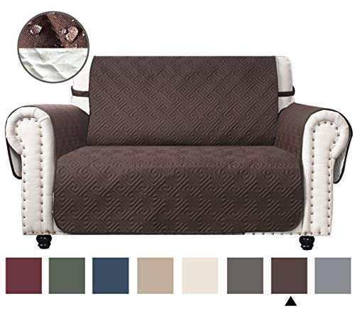 CHHKON DEARTOWN Sofa Cover with Anti-Skip Dog Paw Print 100% Waterproof Quilted Furniture Protector Sofa Slipcover for Children, Pets for Leather Couch (Chocolate, Loveseat(Oversized)) (And Loveseat Sofa Leather Brown Chocolate)