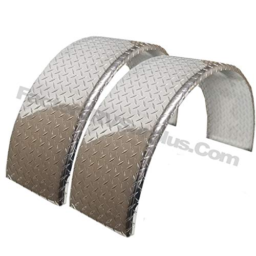 ToughGrade 2-Pack Aluminum Diamond Plate Round Top Trailer Fender 10