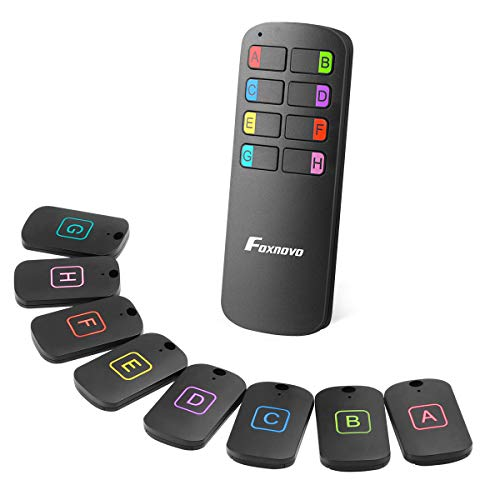 Foxnovo Key Finder, Wireless RF Item Locator with 85~100dB Beeping Sound in 49~164ft Range, Item Tracker with 1 Transmitter and 8 Receivers for Finding Keys TV Remote, Wallet, Pet, Phone and More