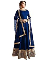 Aarvicouture Blue Suits for Women Indo-Western Red Party Wedding Wear Floor Length Gown/ Anarkali Suit/ Salwar Suit