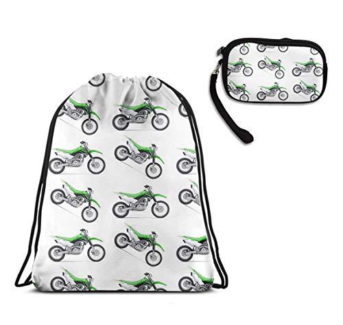 School Gym Drawstring Sack Shoulder Backpack - Motorcycle Green Dirt Bike Colorful Patterned Drawstring Rucksack, Lightweight Water Resistant Tote Cinch Sack + Clutch Travel Purse Make Up Bag]()