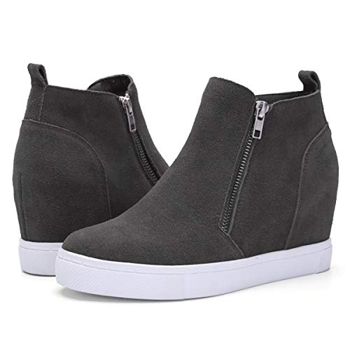 Faux Suede Hidden Platform - Athlefit Women's Hidden Wedge Sneakers Platform Booties Casual Shoes Size 9.5 Grey