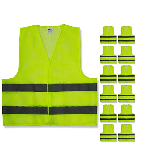 Reflective Safety Vests - High Visibility Neon Yellow Mesh   Fits Men and Women   For Construction and Surveyor Work, Security, Emergency, Event Volunteers, Traffic and Parking Workers   Pack of 12