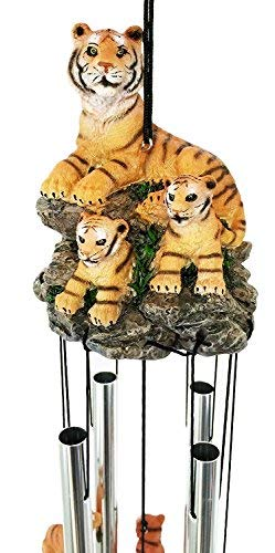 Jur_Global Raja Bengal Tiger with Cubs Family Resonant Relaxing Wind Chime Garden Patio (Tiger Bengal Cub)