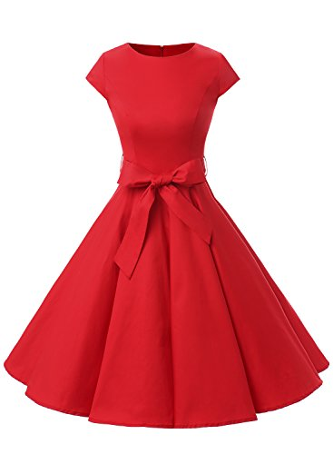 [Dressystar DS1956 Women Vintage 1950s Retro Rockabilly Prom Dresses Cap-sleeve M Red] (1950 Dress)