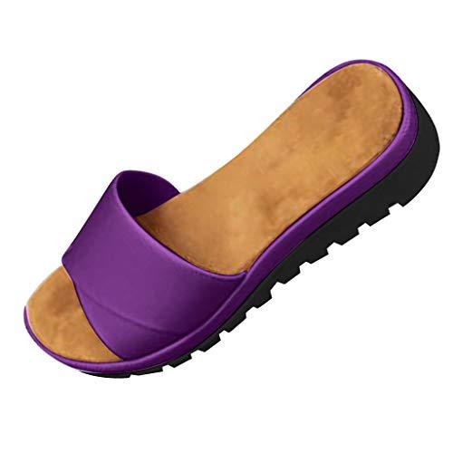 Platform Slide Sandals,ONLY TOP Womens Slip On Open Toes Slide Sandals Cross Strap Summer Flats Shoes Purple ()