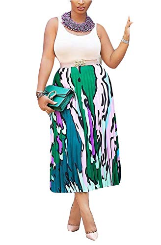 (MarcoJudy Women's Vintage Graffiti Cartoon Printed A-line Pleated Swing Midi Skirts Green)