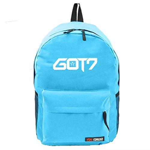 Backpack Canvas Shoulder Schoolbag Bag GOT7 Blue Fanmade Satchel Stars Kpop qw4aPCTT