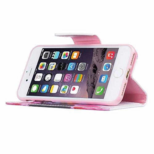 Custodia Apple iphone 7 Cover Case, Ougger Portafoglio PU Pelle Magnetico Stand Morbido Silicone Flip Bumper Protettivo Gomma Shell Borsa Custodie con Slot per Schede Moda Style 3