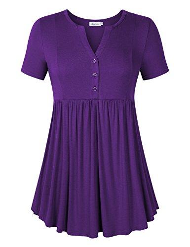 - Clearlove Women's Crewneck Shirts Floral Short Sleeve Flared Hem Tunic Tops (Large,Purple 1)