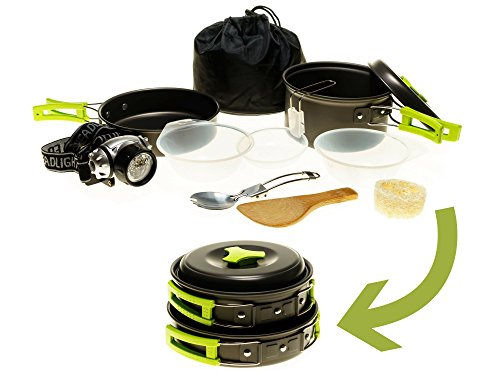 Born to Venture Camping Cookware Mess Kit w/LED Headlamp for Backpacking, Hiking, Survival Bug-out Bag - 11 Piece Cookware w/Pot, Pan & Utensils for 1 or 2 persons - Lightweight, Compact & Durable