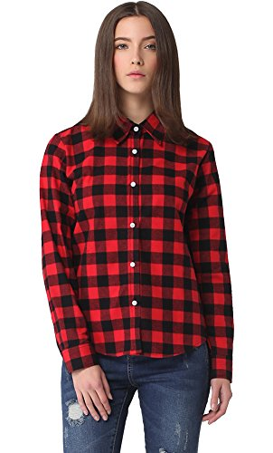 Meykiss women 39 s check flannel plaid shirt us14 black red Womens red tartan plaid shirt