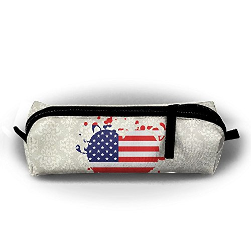Flag Heart Us United States America Superball Students Pencil Case Pen Bag Cosmetic Bag