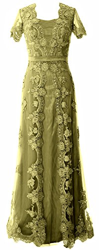 MACloth Women Short Sleeve Lace Mother of the Bride Dress 2017 Evening Gown Verde Oliva