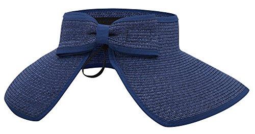 Mesh Sun Visor (AbbyLexi Womens UV Sun Protective Roll-up Summer Visor Straw Hat, Dark Blue)
