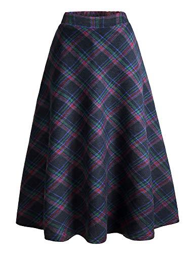 IDEALSANXUN Womens High Elastic Waist Maxi Skirt A-line Plaid Winter Warm Flare Long Skirt (Large, Blue)