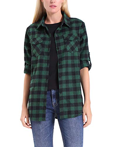 KENANCY Womens Button Down Shirts Long Sleeve Plaid Shirt Green