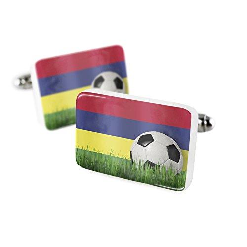 Price comparison product image Cufflinks Soccer Team Flag Mauritius Porcelain Ceramic NEONBLOND