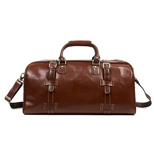 Huntvp Mens Travel Duffel Bag Weekend Carry On Tote Gym Bags Genuine Leather-Brown by Huntvp