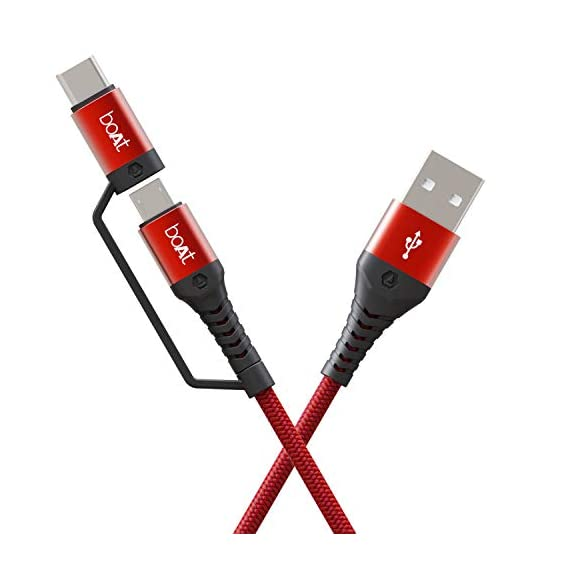 Boat Deuce USB 300 2 in 1 Type-C & Micro USB Stress Resistant, Tangle-Free, Sturdy Cable with 3A Fast Charging & 480mbps