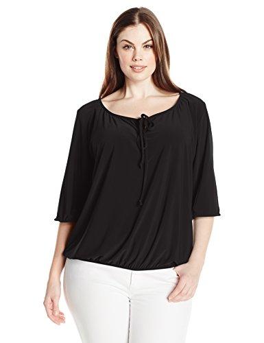 Star Vixen Women's Plus-Size Elbow Sleeve Elastic Hem Peasant Top , Black, 3X
